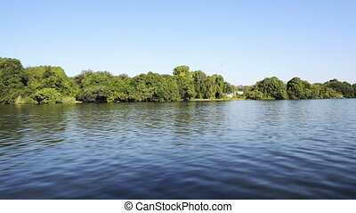 View while moving along the Chobe River in Botswana, Africa in high definition footage
