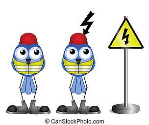 choc, avertissement, électrique