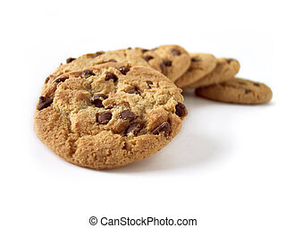 Chocolate Chip Cookies, natural light. Short depth of field, with front cookie the focus. Path included.