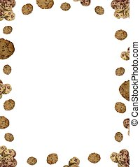 Chocolate chip cookie border on white background