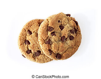 Chocolate chip cookies, taken in natural light. Path included in file.
