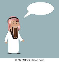 chocado, árabe, homem negócios, com, largo aberto, boca