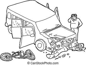 chocado, contorno, coche, ciclista