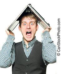 chocado, homem laptop, sobre, seu, cabeça