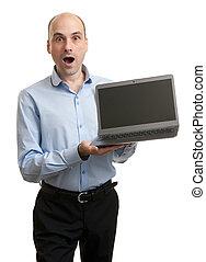chocado, homem negócios, com, computador laptop