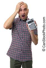 chocado, homem, segurando, um, calculator., isolado