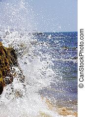 chocar, rociar, roca, contra, ondas