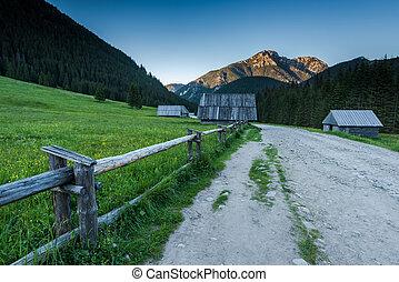 Chocholowska Valley wooden cabin at dusk