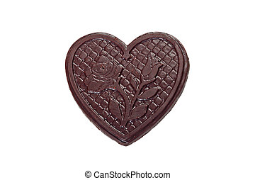 Choco heart - Brown chocolate heart with impressed rose...