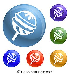 Choco lollipop icons set 6 color isolated on white ...