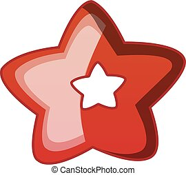 Choco star biscuit icon, cartoon style
