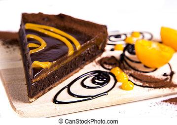 Choco tart - Close up view at choco tart