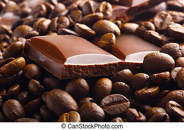 chocolade, bonen, donker, café