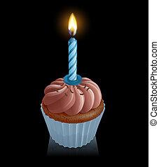 chocolade, elfje, taart, cupcake, met, verjaardag kaars