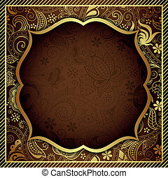 chocolade, floral, goud, abstract