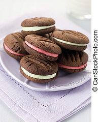 chocolade, kus, koekjes, gevulde, met, pepermunt, room