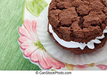chocolade, room, gevulde, koekje