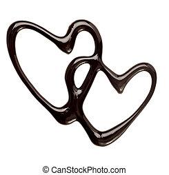 chocolade, syrup, lekkend, hart gedaante, liefde, zoet...