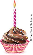 chocolade, vector, cupcake