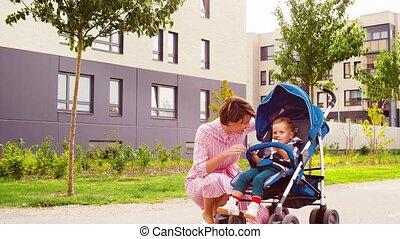 chocolade, zoon, eten, wandelaar, moeder, kussende