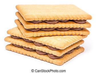 chocoladekleurig biscuit, gevulde, room