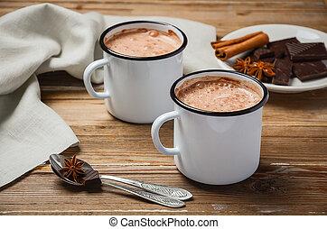 chocolat, épices, chaud