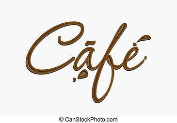 chocolat, café, texte