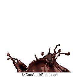 chocolat, chaud, éclaboussure