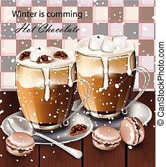 chocolat chaud, boisson, dans, lunettes, vector., hiver, boissons, menu, retro, arrière-plans