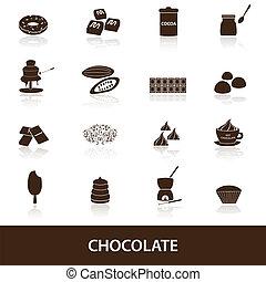 chocolat, ensemble, eps10, icônes