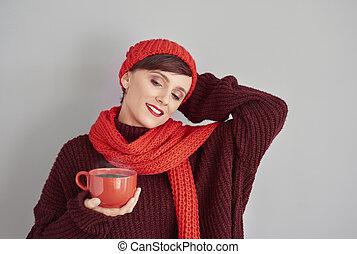 chocolat, femme, chaud, délassant, tasse