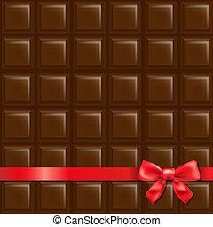 chocolat, fond, arc rouge