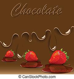 chocolat, fraise, et, caramel