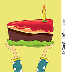 chocolat, grand, anniversaire, tenant mains, gâteau