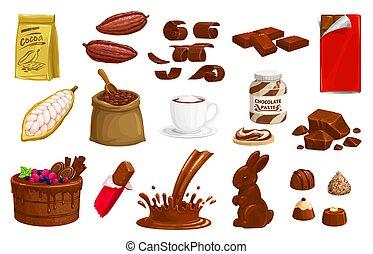 chocolat, icônes, production, cacao, vecteur, choco