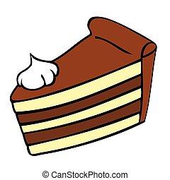 chocolat, slice., gâteau