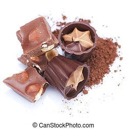 chocolat, sur, blanc