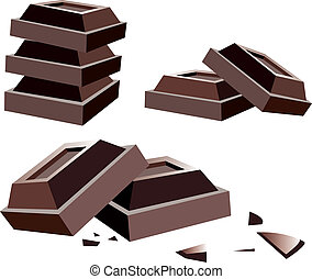 chocolat, vecteur, barres