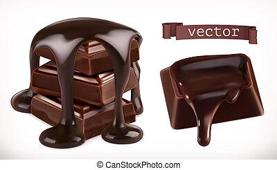chocolate., 3d, realista, vector, icono