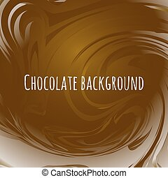 Chocolate abstract background. Brown wavy melted choco.