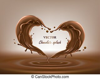 Chocolate abstract splashes 3D vector illustration