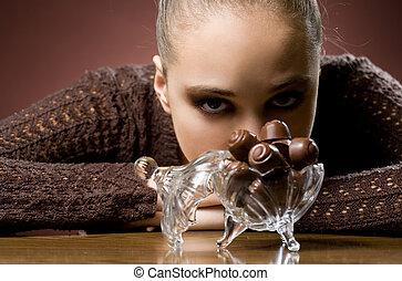 Chocolate addiction. - Chocolate addiction, moody portrait...