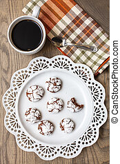 Chocolate Almond Crinkle Cookies on a White Plate - Table ...