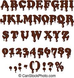 Chocolate alphabet isolated on white background