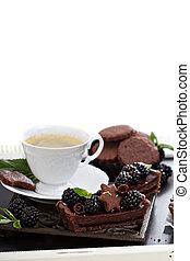 chocolate, amora preta, azedo, com, café