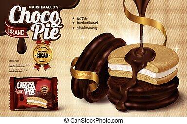 chocolate, anúncio, marshmallow, torta