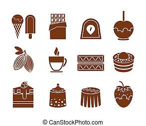 Chocolate and candy icons set