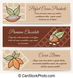 Chocolate and cocoa banner templates - Chocolate and cocoa...