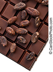 chocolate and cocoa beans - the brown chocolate and cocoa...
