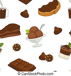 Chocolate and cocoa butter on bread slice products variety seamless pattern vector.